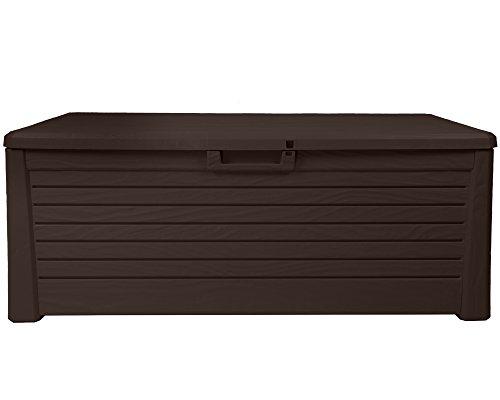 Ondis24 Kissenbox Florida Holz Optik Sitztruhe Auflagenbox braun 550 Liter XXL mit Gasdruckfedern