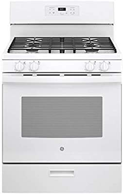 """GE JGBS61DPWW 30"""" White Freestanding Gas Range with 4.8 cu. ft. Capacity Sealed Burners and Continuous Grates"""