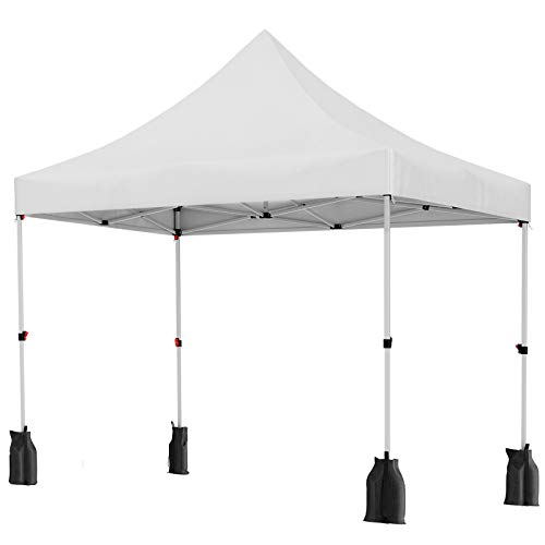 SONGMICS 3 x 3 m Garden Gazebo, Anti-UV Pop-Up Canopy Tent, Waterproof Party Shelter, with Sandbags, Pegs, Ropes, and Wheeled Carry Bag, for Outdoor Wedding Patio Events, White GCT30WT