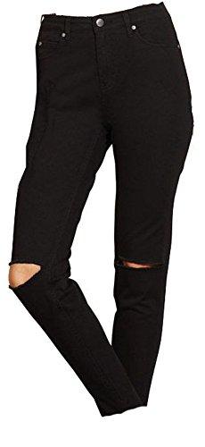 Esmara Damen Stretch Hose Knöchelhose Jeans Skinny Röhren Hose SCHWARZ (40, Schwarz mit Knierissen)