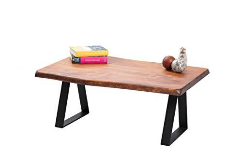 Gozos Scots Pine - Tavolino da salotto in legno massiccio, 100 x 65 cm, con bordo in vero legno, 40 mm