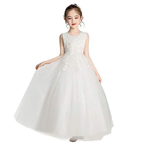 IBTOM CASTLE Vestido de tul con apliques de encaje para niña, vestido formal de princesa, vestido largo para boda, desfile de fiesta, comunión, Blanco, 7-8 Años