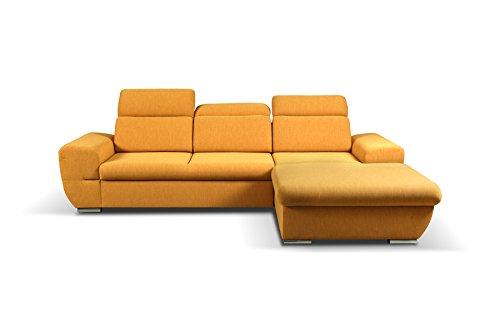 mb-moebel Ecksofa Eckcouch mit Bettkästen mit Schlaffunktion Soft Couch Wohnlandschaft L-Form Polsterecke Fresno GELB (Ecksofa Rechts)
