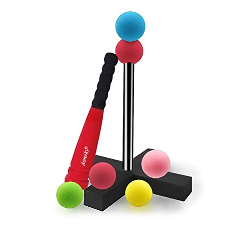 Aoneky Mini Foam Tball Set for Toddlers - Carry Bag Included - Best Baseball T Ball Toys for Kids Age 1 Years Old - Upgraded Version (Red)