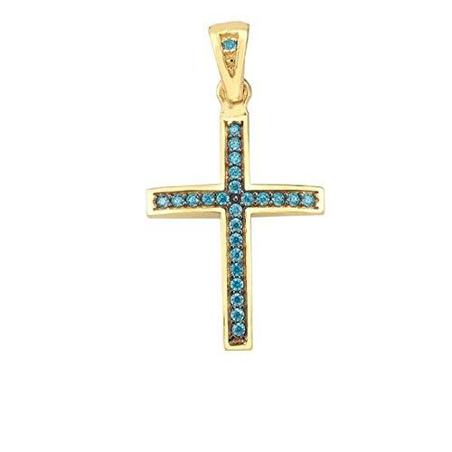 Kreuz Anhänger Gold 585 mit Goldkette 45cm - 50cm Gelbgold 14 Karat Halskette mit Blauen Zirkonia Steinen