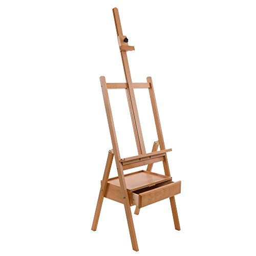 """U.S. Art Supply Large Wooden H-Frame Studio Easel with Artist Storage Drawer and Shelf - Mast Adjustable to 75"""" High, Sturdy Beechwood Canvas Holder Stand - Organized Painting, Drawing Sketching"""