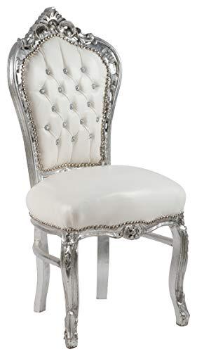 Poltrona Barocco Stile Argento Bianco Dimensioni Altezza cm 108 Larghezza cm 52 profondità cm 45