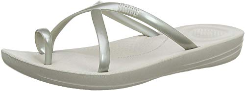 Fitflop Damen Prima Iqushion Cross Slide-Pearlised Zehentrenner, Silber (Silver 011), 37 EU