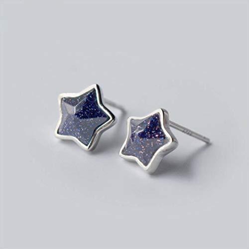 WOZUIMEI S925 Pendientes de Plata Uñas para Hombres Y Mujeres Parejas Aretes de Estrella de Cinco Puntas de Arena Púrpura Sintética Pendientes de TemperamentoUn par