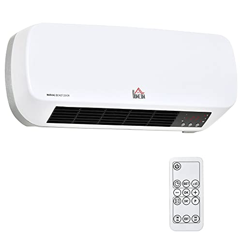 Radiateur mural soufflant 2000 W - chauffage céramique PTC - 3 niveaux de puissance - télécommande incluse blanc noir
