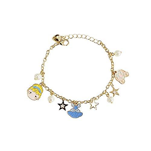 zhongbao Pulsera infantil con cuentas de perlas y estrellas de hadas, regalo para niñas, pulsera infantil (longitud de 16 cm, color metal: Cenicienta)