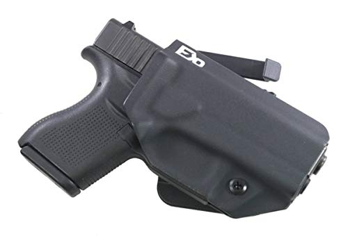 FDO Industries -Formerly Fierce Defender- OWB Kydex Holster Compatible with Glock 43 -The Grey Man Series- Made in USA- (Black)
