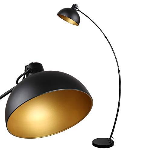 Lámpara de pie arco,lámpara de pie Osasy vintage,lámparas de pie retro en negro-dorado,pantalla ajustable,1x E27 máx. 60 vatios,165 cm Lámpara de pie de metal,para lectura,sala de estar,salones
