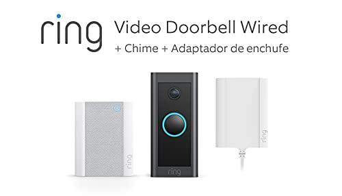 Te presentamos el Ring Video Doorbell Wired + Adaptador de enchufe y Chime de Amazon   Vídeo HD, detección movimiento avanzada y adaptador de enchufe   Prueba gratuita de 90 días del plan Ring Protect