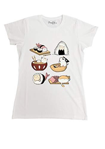 T-Shirt Maglietta Sushi Manga Love Cats, M-Uomo Uomo