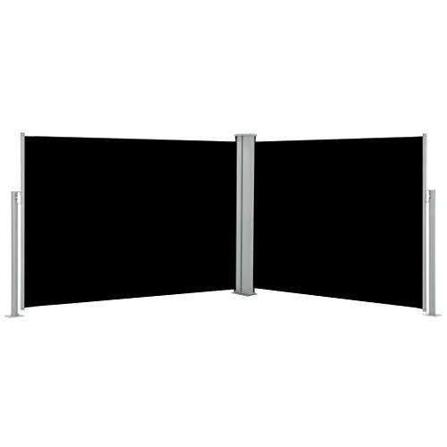 shang Ausziehbarer auf 1000 cm Doppelseitiger Sichtschutz Markise,Automatischen Rückrollfunktion,Doppelseitenmarkise Garten-Seitenmarkise Seitenrollo Seitenwand Mit Montagezubehör,2 Pfosten,Schwarz