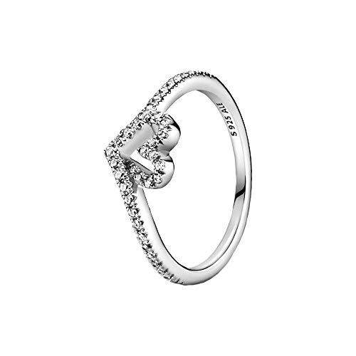 Pandora Wish Sparkling Wishbone Heart Ring Made of Sterling Silver/Size 54