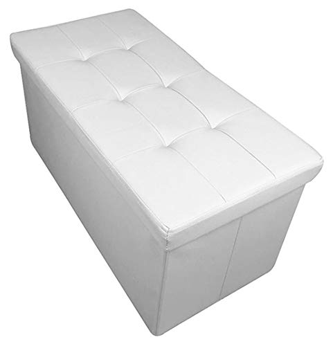 HomeHarmony® Quilted Top Folding Storage Ottoman Seat, Stool, Toy Storage Box Faux Leather (White, Large)