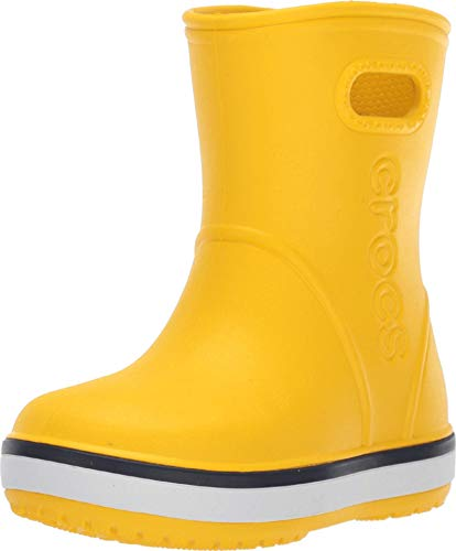 Crocs Kids' Crocband Rain Boot | Easy Slip On for Toddlers | Lightweight and Waterproof, Yellow/Navy, 6 M US Toddler