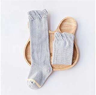 Lovely Socks 6 Pairs Children Cotton Socks Kids Spring and Autumn Stripe Patterns Lace Mid Tube Socks (White) Newborn Sock (Color : Grey)