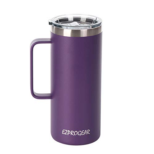 Ezprogear Stainless Steel 32 oz Beer Tumbler Purple Grape Coffee Mug Double Wall Vacuum Insulated with Handle and Lid 32 oz Grape