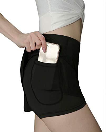 ASKSA Damen 2 in 1 Shorts Laufshorts Dual Kurze Sporthose Frauen Yoga Fitness Laufhose Sport Hosen Trainingshose(Schwarz,M)