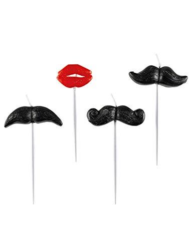 amscan - 998551 - 4 Bougies avec Mini Figurine Moustache