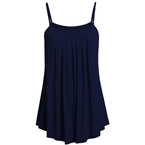 VEMOW Sommer Frauen Damen Elegante Lose Leibchen Damen Einfarbig Tank Tops Plus Größe S ~ 6XL Vintage Tunika Hemd T-Shirt (54 DE / 6XL CN, A)