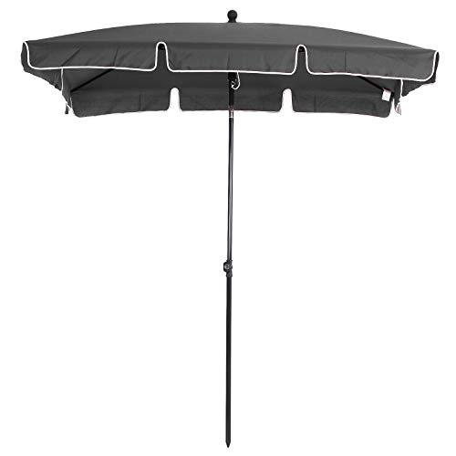 Outsunny Sombrilla Rectangular Grande Parasol con Ángulo Ajustable para Patio Terraza o Jardín 198x130x240cm En Color Gris