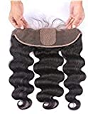 SHANELL Hair Silk Base Frontal Closure Ear to Ear With Baby Hair Body Wave 13x4' Virgin Human Hair Top Closure Natural Black Color 1b Free Part 12Inch