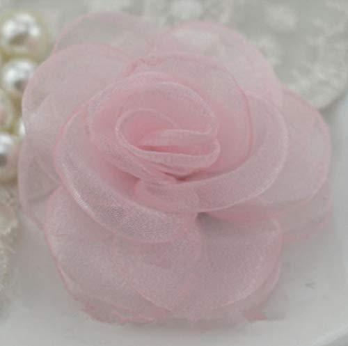 10 stks glasgaren rose bloem haar accessoire haar clip accessoires diy haarspeld materiaal koreaanse gebrand sneeuw garen camellia rs161, roze