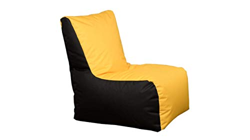 GiantBag Puf para exteriores (2 colores, con cremallera, tamaño XXL), color amarillo y negro
