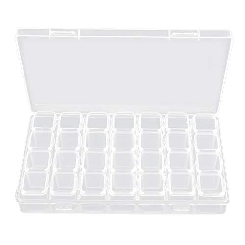 SM SunniMix Boites de Rangement Transparent Contenant Stockage pour Perles d'ongles Cosmetiques Nail Art Déco - Détachable et Amovible - 28 fentes