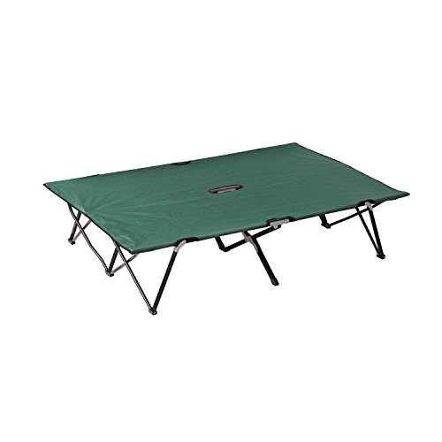 Outsunny Portable Wide Folding Camping Cot Elevated Bed for Adults with Carrying Bag - Green