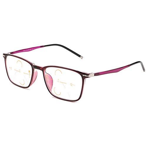 VOCD leesbril anti-blauw licht Progressive Multifocus-modus Ultra Light Comfortabele Eenvoudige HD Old bril - TR90 Full Frame mannen en vrouwen