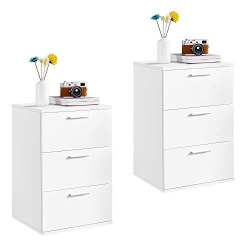 Yaheetech 2 x Mesitas de Noche Blancas 40 x 35 x 60 cm con 3 Cajones de Madera Estilo Moderno para Dormitorio Salón