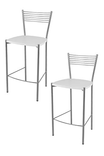 Tommychairs - Set 2 sgabelli alti modello Elegance per cucina e bar, struttura in acciaio verniciata colore alluminio e seduta in legno colore bianco