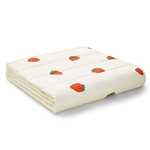 YnM Weighted Blanket — Organic Long Stapled Cotton Material with Premium Glass Beads (Strawberry, 48''x72'' 15lbs), Suit for One Person(~140lb) Use on Twin/Full Bed