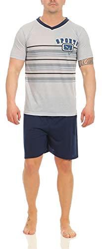 Herren Pyjama Kurz Schlafshorts und T-Shirt Schlafanzug Gr. M L XL 2XL, 1767 Blau L