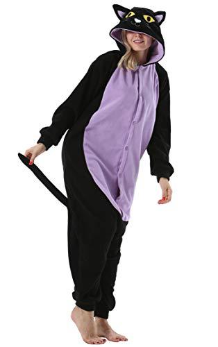 Pijama Animal Entero Unisex para Adultos con Capucha Mujer Hombre Cosplay Pyjamas Ropa de Dormir Traje de Disfraz para Festival de Carnaval Halloween Navidad Gato para Altura 148-187cm