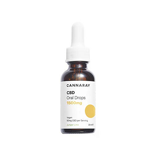 Cannaray CBD Oil Drops - High Strength, 1500mg | Juniper & Lime Flavour