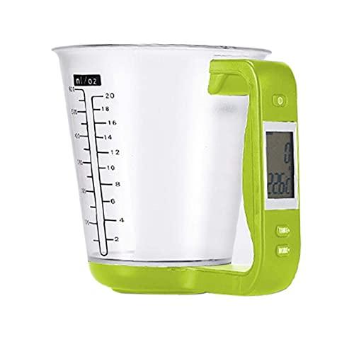 Taza de medición electrónica escala de cocina digital hogar jarra verde para la leche té tienda hogar herramientas de hornear herramienta práctica yxf99