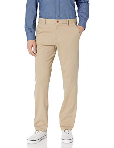 IZOD Men\'s Performance Stretch Straight Fit Flat Front Chino Pant, Cedarwood Khaki, 34W x 32L