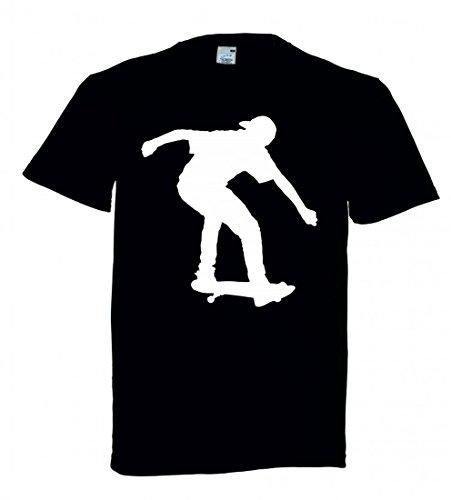 T-Shirt Skateboard- Athlet- Junge- ÜBUNG- Fitness- Gesundheit- MENSCHLICHE- Spielen- Silhouette- Sport- Trick in Schwarz für Herren- Damen- Kinder