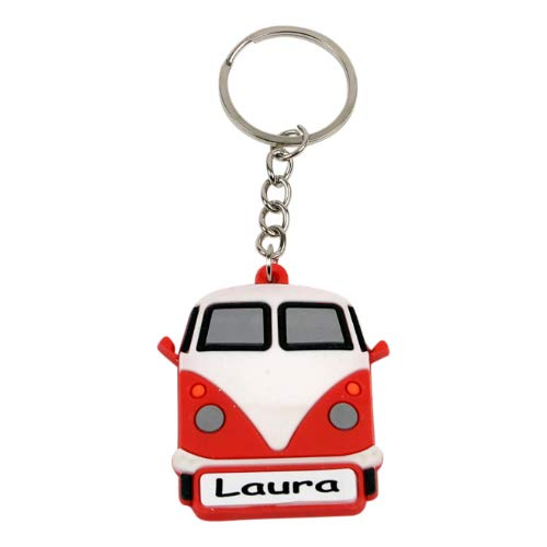 leuk kado met naam sleutelhanger autobus rubber - oranje
