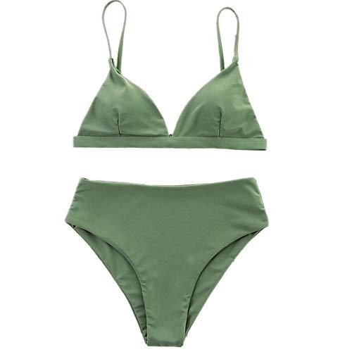 Bikini de baño para mujer, color verde, conjunto de bikini con almohadilla 2 S