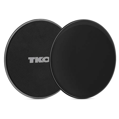 TKO Exercise Sliders Fitness Discs for Core, Ab Workouts   Double-Sided for Carpet and Hardwood Floors   Cardio, Glutes, Arms, Legs   Set of 2 (Black)