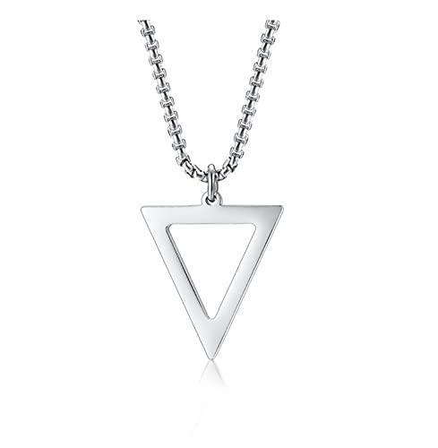 GUXUE Collares Geométricos para Hombres, Colgante Triangular Hueco, Regalo De Joyería Simple Minimalista De Acero Inoxidable para Hombre