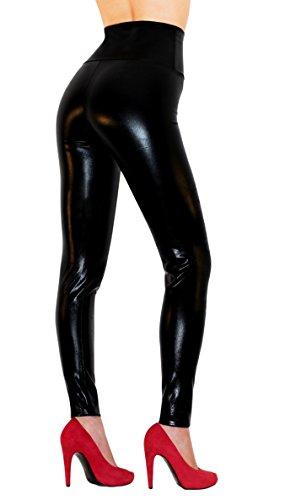 Sodacoda Damen Sexy Kunst-Leder Leggings - Hohe Taille Wet-Look (Lack-Schwarz, L)