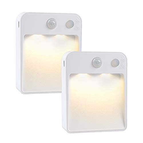 2Pcs LED Plug in Night Lights, with Photocell Sensor, Battery-Powered with Adhesive Pads,Used in Bedside Table Lamp, Wardrobe, Closet, Corridor,Staircase, Bedroom,Children's Room Warm White